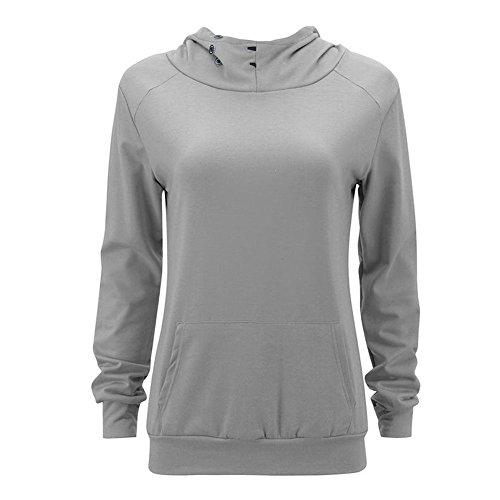 Sweatshirt Femmes Manteau Meijunter Chandail Tops Haut Encapuchonné cou Coton Gray Pullover qAqwfYBO