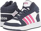 adidas Kids' Hoops Mid 2.0 Basketball Shoe, White/Real Magenta/Trace Blue, 11K M US Little Kid