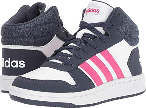 adidas Kids' Hoops Mid 2.0 Basketball Shoe, White/Real Magenta/Trace Blue, 11K M US Little Kid by adidas