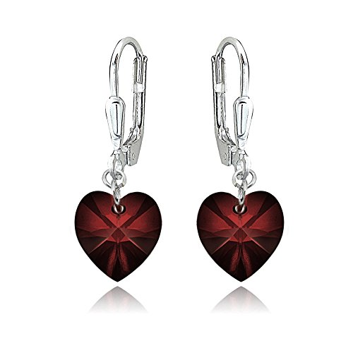 Sterling Silver Dark Red Heart Dangle Leverback Earrings Made with Swarovski Crystals