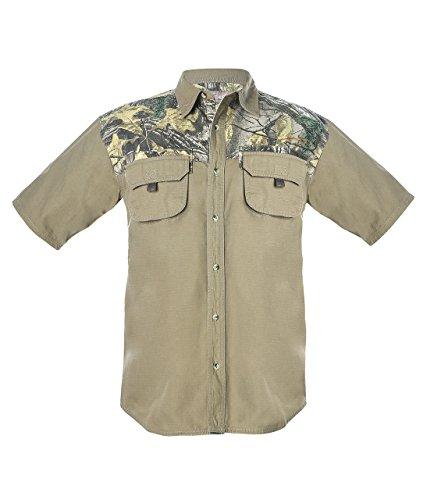 Two Pocket Camp Shirt (Earthletics Men's Short Sleeve Button Up Woven Camp Shirt XL Covert Green)