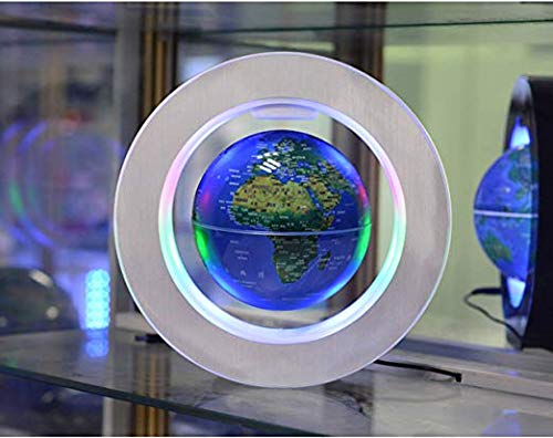 Magnetic Floating Map Globe with Round Socket, 4'' Rotating Planet Earth Globe Ball Anti Gravity LED Light Lamp- Educational Gifts for Kids, Home Office Desk Decoration,Business Gift(Blue) by WanTang (Image #8)