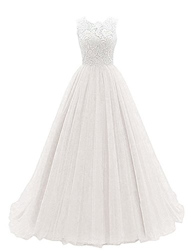 OYISHA Women's Long Lace Prom Evening Dress Chiffon Bridesmaid Formal Gowns AFM50 Ivory 2