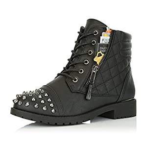 DailyShoes Women's Military Lace Up Buckle Combat Boots Ankle High Exclusive Credit Card Pocket Frontal Metal Stud Hiking Booties, Black PU, 10 B(M) US