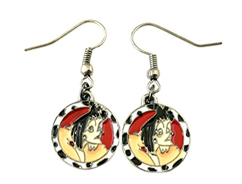 101 Dalmatians Cruella Deville Disney Dangle Earrings TV Comics Movies Cartoons Superhero Logo Theme Premium Quality Detailed Cosplay Jewelry Gift (Cruella Deville Childrens Costume)