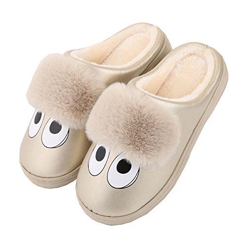 Dibujos animados cuero de la PU familia zapatillas de casa-Unisexo invierno calentar felpa Botín con los zapatos hHckYzp4