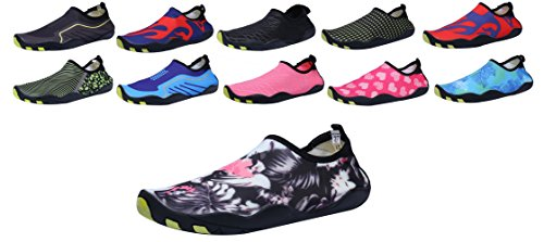 SAMI STUDIO Men and Women's Water Shoes Lightweight Durable Role Aqua Shoes Suitable For Driving Swimming Boating Yoga Beach Surf Flower2 KXX9Uebl
