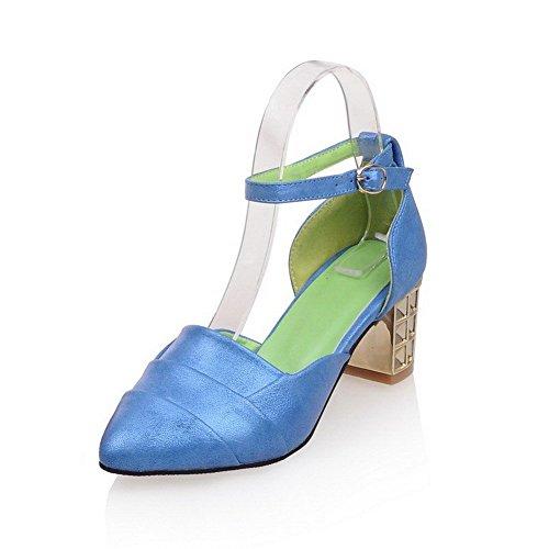 AllhqFashion Solide Heels Weiches Spitze Kitten Schnalle Zehensandalen Material Blau Damen ApqrA
