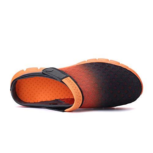 Sandals Scarpe Muli Beach Hollow Black Uomo da Swtich Flat da Heel Traspirante Slip Backless Cricket Vamp On Orange OqpOPxwrv