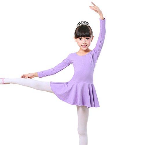 KINDOYO Tutú de Clásico Ballet Niñas Vestido Chica Leotardo Gimnasia Falda de Danza con Mangas largas Ropa , Violeta