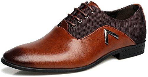 Jiye Men's Leather Fashion Oxford Shoes,Brown,9 M US