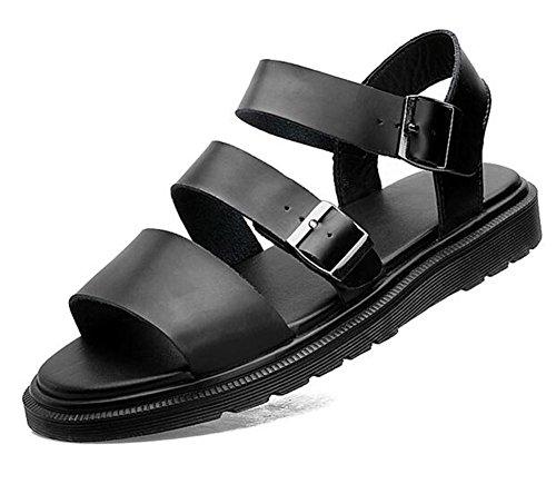 Diapositives 43 Adultes En À eu37 Hommes 35 Taille slip Été Femmes Non Cuir Ouverte Sandales Black Chaussures Plage Véritable Boucle Toe Unisexe Ceinture Respirant Xie q0faBxW