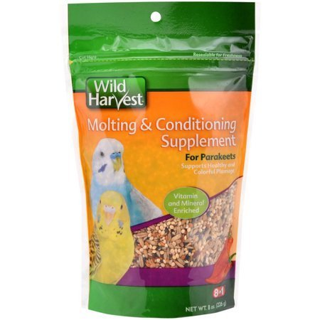 Wild Harvest MOLTING & CONDITIONING SUPPLEMENT For Parakeets Vitamin and Mineral Enriched (1-BAG) (NET WT 8 OZ)