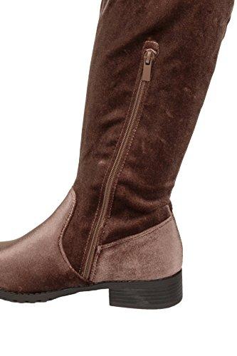 Side Over The Knee Womens Velvet Boots Hadari Zip Short Loafer Heel Yt1TqZ