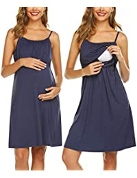 dcd33812bf4 Women s Nursing Nightgown Maternity Dress Breastfeeding Hospital Gown Full  Slips Sleepwear