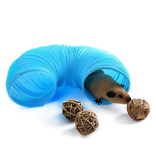 Niteangel Fun Tunnel with 3 Pack Play Balls for Guinea Pigs, Chinchillas, Rats and Dwarf Rabbits (Blue)