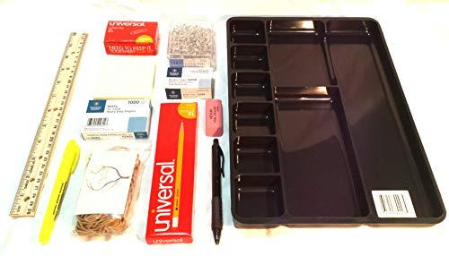 Office Starter kit Bundle Organizer with rubberbands, Push pins, Staples, paperclips and Other Supplies.