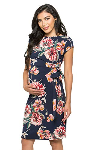 My Bump Women's Side Bow Tie Pattern Cap Sleeve Maternity Dress(Made in USA) (X-Large, Navy SKAO)