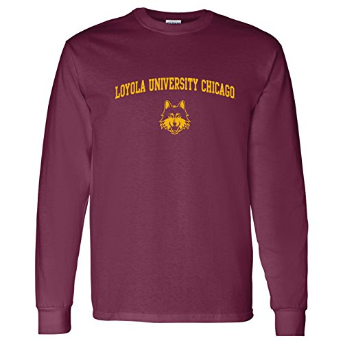 UGP Campus Apparel AL03 - Loyola University Chicago Ramblers Arch Logo Long Sleeve - X-Large - Maroon (Apparel)