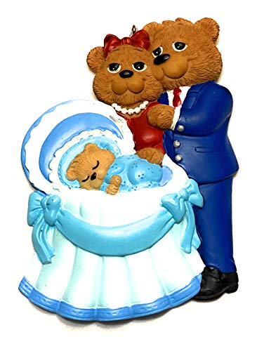 New Parents Family of 3 Christmas Ornament, Baby Boy's First Christmas Ornament with Family, Brown Bear Family of Three with Baby Boy Christmas ()