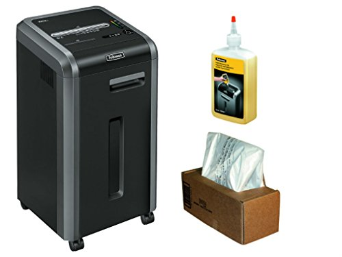 Fellowes 3825001 Powershred 225Ci 100  Jam Proof 22 Sheet Cross Cut Shredder Performance Bundle With Waste Bags And Oil