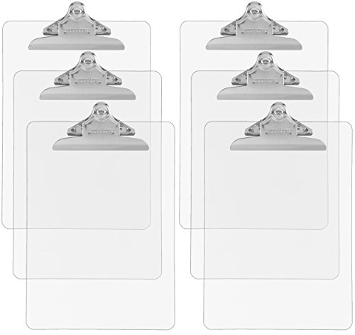Trade Quest Plastic Clipboard Transparent Color Letter Size Standard Clip (Pack of 6) - Office Clear Clipboard