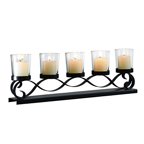 Adeco Decorative Iron Horizontal Table Standing Candle Pillar Holder, Antique Vintage Wave Style, Classy Home Decor Accents