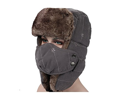cappello peluche Unisex Tofern microfibra cappello vento grigio pelliccia caldo caccia cappello coperta in maschera russo sci Ushanka inverno bocca spessa impermeabile cotone zwqF4aw