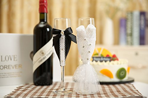 0357918774 Personalized Wedding Dress Wine Glasses-ULA Handmade Bride and Groom  Champagne Flutes for Toasting