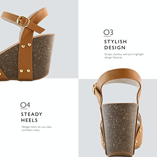 Toe Platform Buckle On Casual Chunky Wedge Women's Pu Tan Sandals DailyShoes Slide Open Comfort Shoes FnZwqgfFx8