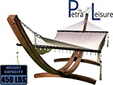 Petra Leisure 14 Ft. Wooden Arc Hammock Stand + Deluxe Hand Woven Bohemian Chic Rope Hammock Bed. 2 Person Bed. 450 LB Capacity(Natural Stain/Beige)
