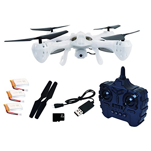 Hover-Way 2.4 GHZ Alpha Drone with 480P Video Camera & 8 GB SD Card- Auto Hover, Throw and Fly Aerial Stunts and Removable Battery - Translucent White by Hover-Way