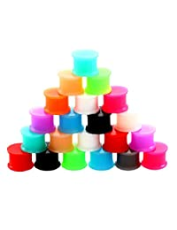 Baoblaze 12Pair Colorful Double Flared Ear Flesh Tunnel Silicone Plug Expander 6mm-14mm