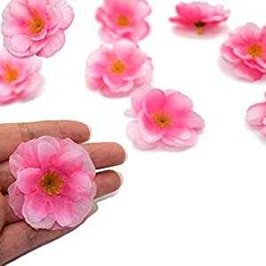 HZOnline Artificial Silk Cherry Blossom Flower Heads, Fake Fabric Sakura Floral Head decor for Bridal Hair Clips Headbands Dress DIY Accessories Wedding Party Supply Table Decorative (100pcs Pink) 5