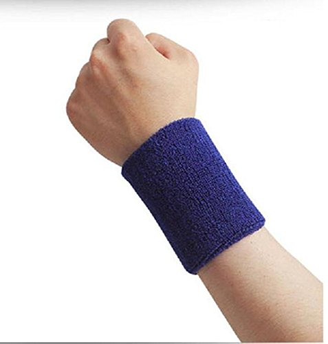 Kagogo 4 Inch Cotton Sports Wristband / Sweatband For Basketball Tennis And Other Sports, Price/Pair (Deep Blue)