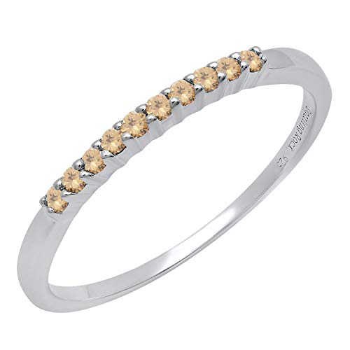 (Dazzlingrock Collection 0.15 Carat (ctw) Sterling Silver Round Champagne Diamond Ladies Wedding Stackable Band, Size 8.5)