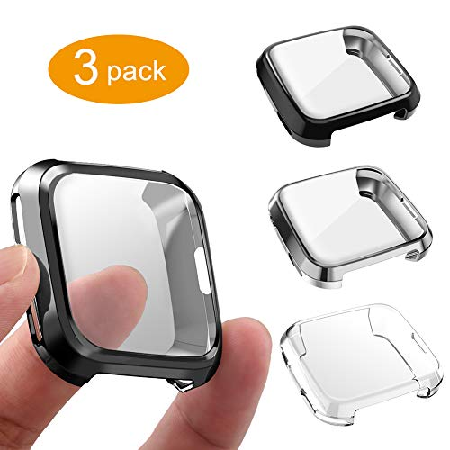 (3 Packs Case Compatible Fitbit Versa, GHIJKL Ultra Slim Soft Cover Case for Fitbit Versa, Black, White, Gray)