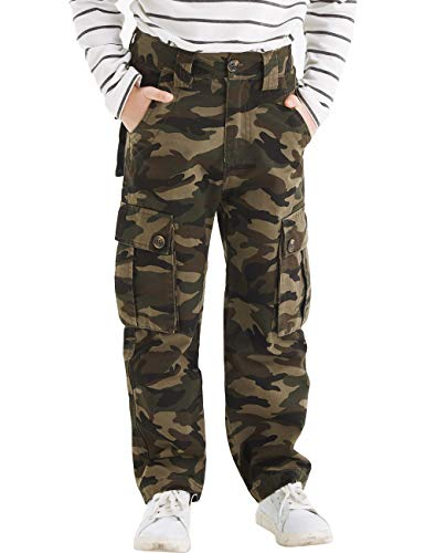(BYCR Boys' Skinny Elastic Waistband Cotton Camo Cargo Jogging Pants (camo-Gray, 170 (US Size 14/16)))