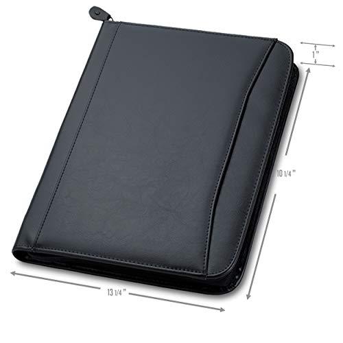 (Ferrago Zipper Portfolio | Front Pocket | Simulated Leather | Removable Calculator | Clear I.D Pocket | Gusseted Pocket | 8.5