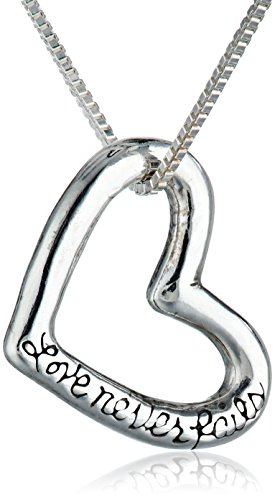 "Bob Siemon Sterling Silver ""Love Never Fails"" Heart Pendant Necklace, 18"""