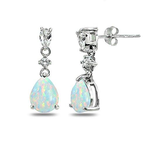 Sterling Silver Simulated White Opal & White Topaz Pear-Cut Teardrop Dangling Stud Earrings