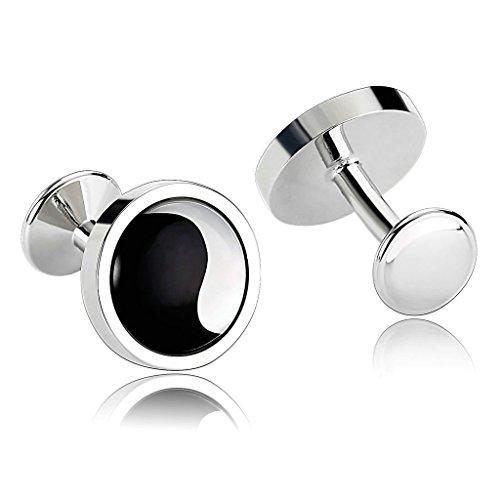 KnSam Men Stainless Steel French Cufflinks Yin Yang Circle Seashell Black White ()