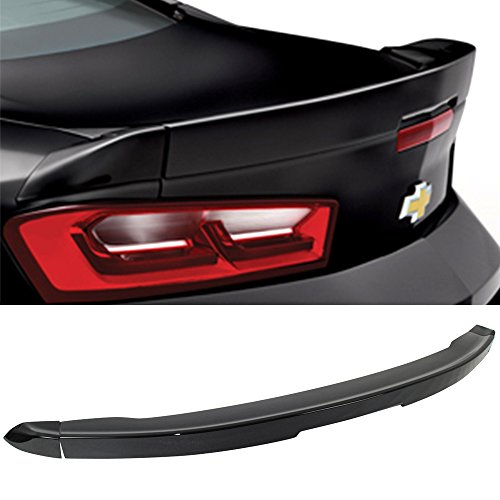 (Pre-Painted Trunk Spoiler Fits 2016-2019 Chevy Camaro | OE Style Flush Mount 3Pc Blade Painted #WA8555 Black ABS Boot Lip Rear Spoiler Wing Other Color Available By IKON MOTORSPORTS | 2017 2018)
