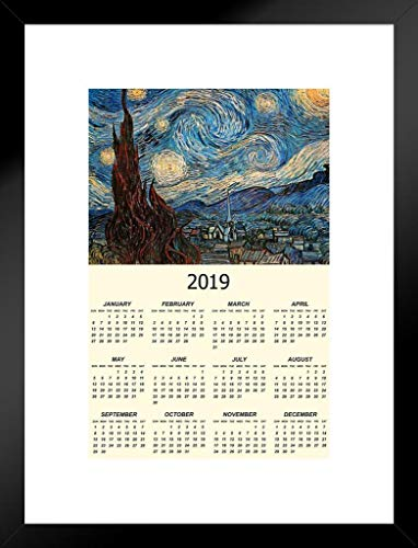 Poster Foundry The Starry Night 1889 by Vincent Van Gogh Art Print Matted Framed Wall Art 2019 Calendar 26x20 - Nyc Calendar Print