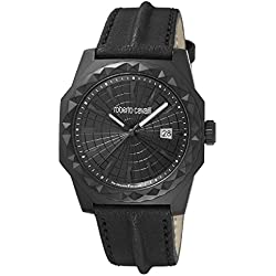 Roberto Cavalli by Franck Muller Men's 'PYRAMID BEZEL' Quartz Stainless Steel and Leather Casual Watch, Color:Black (Model: RV1G018L0036)