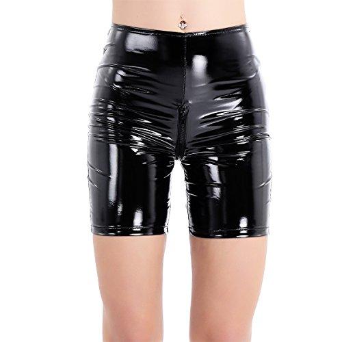 (ranrann Women's Shiny Metallic Patent Leather Zipper Crotch Short Leggings Boxer Shorts Black Small)