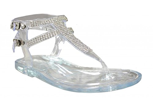 Kali Footwear Little Girl's Clara Jr. Jelly T-Strap Rhinestone Flat Gladiator Sandals, Clear 8 ()