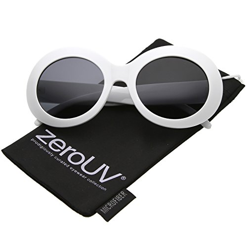 zeroUV - Large Oversize Chunky Wide Arms Neutral Colored Lens Oval Sunglasses 55mm (White / - Bugeye Sunglasses