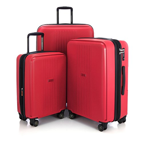 HAUPTSTADTKOFFER Ostkreuz Luggages Set Matt Suitcase Set Hardside Spinner Trolley Expandable (20', 24' & 28') TSA F-Red