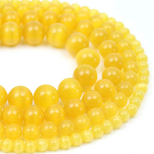 (Oameusa Natural Round Smooth 10mm Yellow Cat's Eye Agate Beads Gemstone Loose Beads Agate Beads for Jewelry Making 15